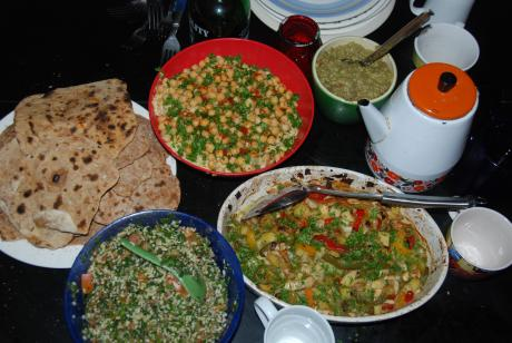 hummus, tabouli, roasted vegetable, guacamole